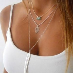Jewelry - NEW! Boho 3 Layer Feather Leaf Necklace Silver